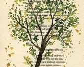 Tree 4 - Original Watercolor Painting - on Antique Book page - 7x5 inches