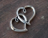 4 Silver Double Heart Charm 35mm Antiqued Silver