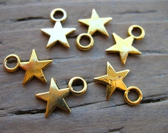50 Gold Star Charms 11mm Antiqued Gold