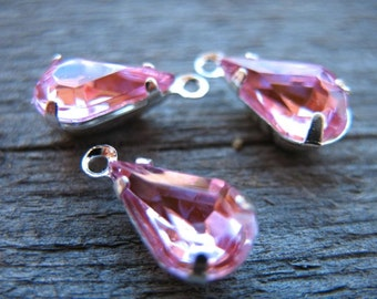 6 Pink Rhinestone Teardrop Charms 14mm