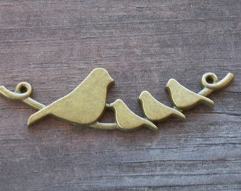 2 Bronze Birds on Branch Connectors Antiqued Bronze 6.7cm or 2.6 inches