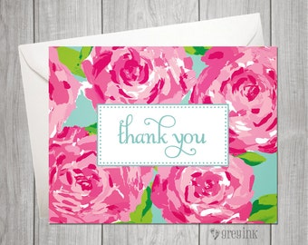Custom Roses Thank You Folded Notes inpired by Lilly