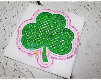 Swirly Shamrock - Lucky Shamrock - St. Patrick's Day - Lucky - Embroidered Applique Shirt
