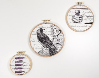 Edgar Allan Poe Embroidery Hoop Art Set Nevermore Collection by Michael Miller