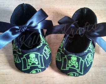 Pirate baby girl crib shoes
