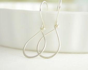 Silver Raindrop Earrings - sterling silver teardrop dangle earrings - 3140