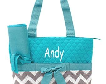 Personalized Gray & Aqua Chevron Diaper Bag Set- 3 piece quilted zig zag pattern baby girl or boy Momogram FREE