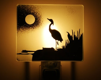 Nightlight heron night light veilleuse heron cabin