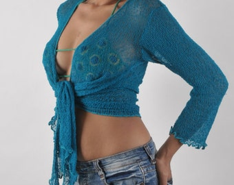 Knitted Bolero Jacket - Teal with Ties