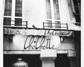 Black and white square print, club in Paris, 4x4, 8x8, retro photo, square photo