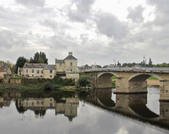 Bridge over Loire river photo, canvas or print, Village of Chinon, France photo, French village photo, small canvas, large canvas