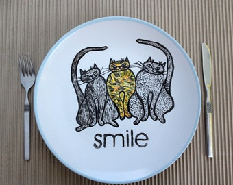Hand painted plate -size 11 inches in diameter- Cats- dinner plate -Ceramic hand painted plates.