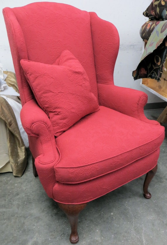 Henredon Wing Back Chair In Brick Red Matelasse By