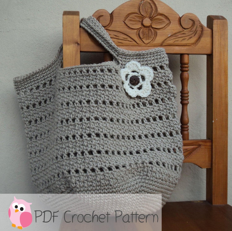 Market Bag Beach Bag Crochet Pattern Digital Download
