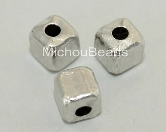 5 Brushed Antiqued SILVER 4mm CUBE Seed Beads - 4x4mm w/ Large 1.5mm Hole Boho Tibetan Style Square Spacer Nickel Free Metal Beads - 5636