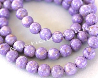 15 Light PURPLE 6mm Natural RIVERSTONE Gemstone Bead - Round Opaque Natural River Stone Gemstone Bead - Instant Ship from USA Seller - 4459