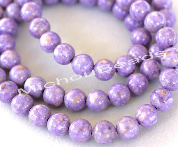 Light Purple Marble : Light purple mm natural riverstone gemstone bead round