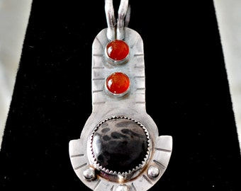 "sterling silver jasper pendant, petrified palmwood and carnelians.  ""Egyptian Sunrise"""