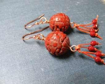 Gypsy Soul Earrings:  Copper Russet Carved Floral Resin Beads Sparkling Czech Crystals