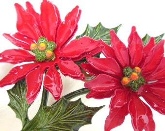 Vintage Enameled Poinsettia Flower Brooch - Christmas 50's (item 26)