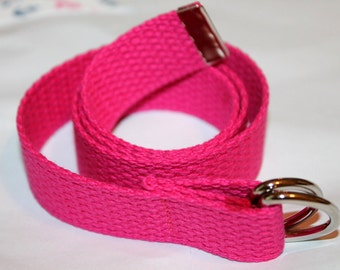 Girls Belt Webbing Girls Hot Pink Belt Hot Pink Canvas Belt Little Girls Pink Belt Fuchsia Webbing Belt Girls Fuchsia Belt Pink D Ring Belt