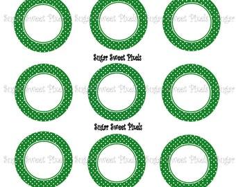 INSTANT DOWNLOAD Green  Polka dot Border blank  1inch Circle Bottlecap Images 4x6 sheet