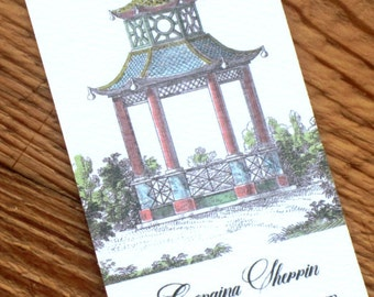 Chinoiserie Pagoda Calling Card, Set of 50 Personalized Business Cards