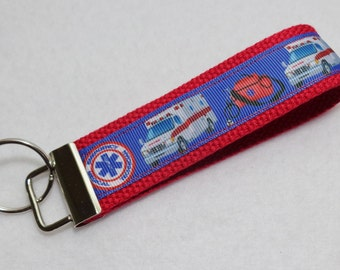 Key Fob/ Wristlet/ Keychain/Pink / EMT Emergency Medical Technician/ Ambulance print  /Ready to Ship