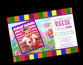 Kids Birthday Party invitations - Candyland Birthday - Photo Birthday Invitations