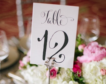 Table Number Signs - Perfect for your Wedding Reception - Table Cards Fancy Script, Elegant Chalkboard Simple Table Numbers (Set of 10) SS07