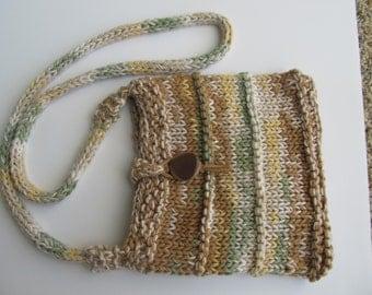 Handknit Cotton Handbag, Shades of Taupe and Green