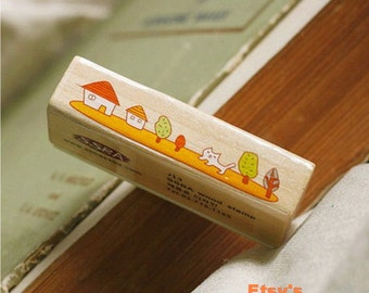 Wooden Rubber Stamp - Border Stamp Series - Naughty Cat 01 - 1 Pcs