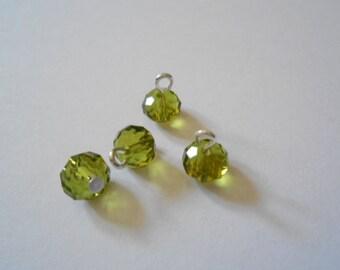 Olivine Faceted Rondelle Dangle Beads