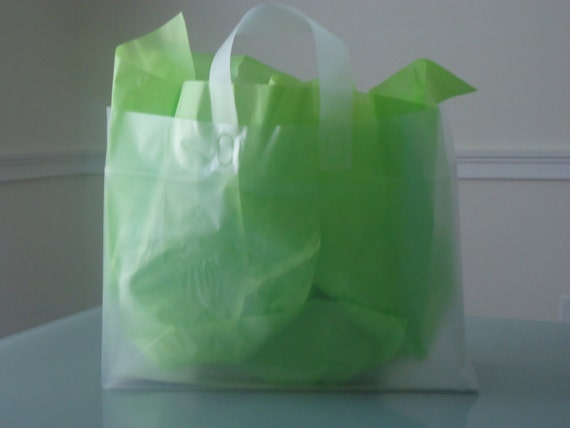 items similar to set of 5 large clear frosted plastic gift bags 16 x 6 x 12 inches on etsy. Black Bedroom Furniture Sets. Home Design Ideas