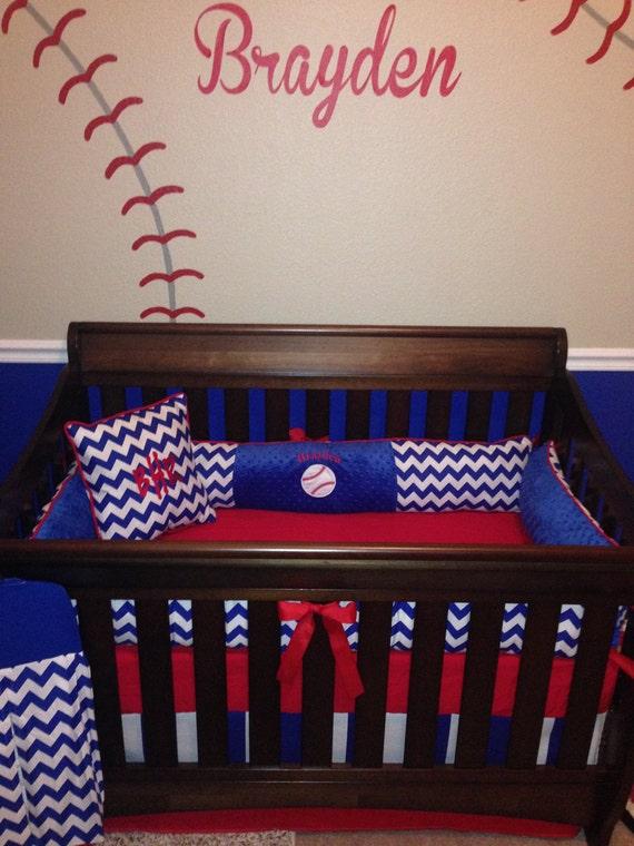 Brayden Custom Crib Set 6 Pcs Set In Royal Blue Chevron And