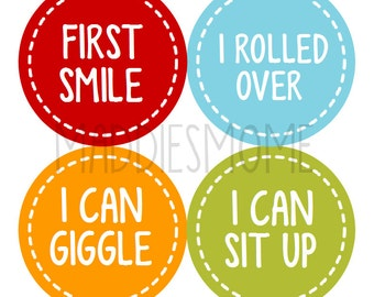Baby Milestone Stickers - Baby's Firsts Boy Girl Monthly Baby Stickers  (Milestones Gender Neutral)