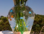 Fish bowl hand painted flower vase