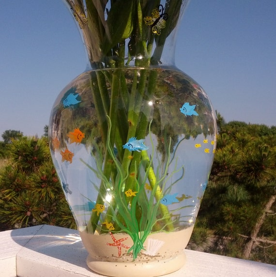 Fish bowl hand painted flower vase by glassesbyjoanne on etsy for Plant with fish in vase