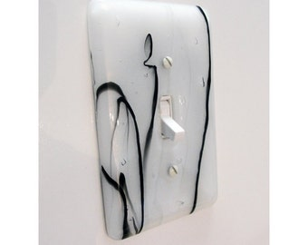 Fused Glass Light Switch Plate Iridescent White Black Home Decor Glass Art Kitchen Bathroom Bedroom Light Plate Outlet Cover