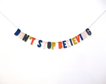 Don't Stop Believing party banner, room banner, 80s party banner in red, blue, peach, yellow, grey