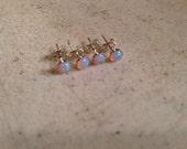 Opal Earrings - Sterling Silver Jewelry - Iridescent Jewellery - Children - Dainty - Pierced - Studs - October Birthstone - Flower Girl