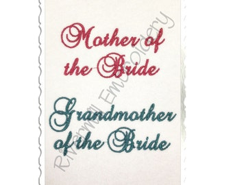 Set of 2 Bridal Party Machine Embroidery Designs