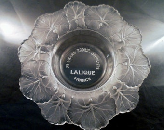 Vintage 1960-70's Lalique Linz Brothers Jewelry 75th Anniversary Crystal Glass Honfleur Pattern Dish. 6.5in Diameter.
