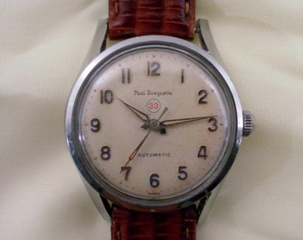 Vintage 1950's Special Paul Breguette 33 Automatic Watch. 17 Jewel Swiss 111283 Swiss Mvt. New Leather Band.
