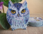 Baby Shower Owl Magnet. Hand Painted Feather Bird Mini Artwork. Fridge Kitchen Decor. Set of 1 MDF shape Owl