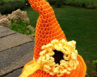 Halloween, Crochet Baby Hat, Orange Baby Witch Hat, Newborn Hat, Newborn Baby Hat, Infant Hat, Witch Hat, Photo Prop, Hat with Flower
