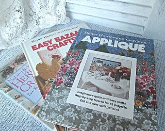 Vintage Book Bundle Crafting Hardcover Books How to Books Better Homes and Gardens Applique Bazaar Herbal Gifts Supplies Gift Giving Crafts