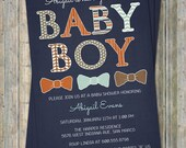 Baby Boy, baby shower invitations with bow ties, Navy, Brown, Blue, Orange Digital, Printable file