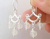 White Agate Sterling Silver Earrings. White Stone Bead -Alba