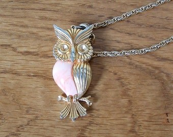 Vintage Owl Necklace Owl On Branch Owl Pendant Gold Tone Owl Necklace Pink Swirl Creamsicle